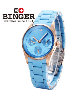 Switzerland Binger new blue love watch womans rose gold sports watches waterproof steel strap luxury fashion leisure wristwatch