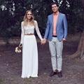 Romantic 2016 New Bohemia Long Sleeve Two Pieces White Lace Chiffon Wedding Dress Bridal Gowns vestido de noiva robe de mariage