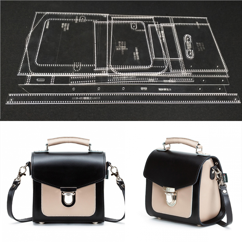 1set DIY Leather Handmade Craft Women Handbag Shoulder Bag Sewing Pattern Acrylic Stencil Template 18x18x12cm Pitch-row 4mm