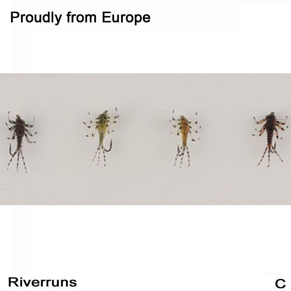 Riverruns Realistic Flies Mayfly Nymph Flies Trout Flies 4 Colors With Fly Box riverruns realistic flies 24pcs bag stone fly nymph flies leg 4 color 3 size