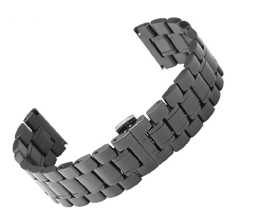 Watch Strap 18mm 20mm 22mm 24mm 26mm 30mm Black Stainless Steel Repalcement Watch band Bracelets For