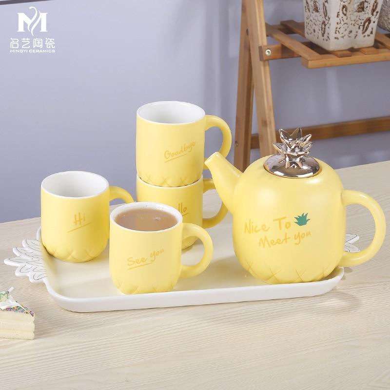 Concise Ceramics Infusion Of Tea Kettle Suit Coloured Glaze European White Porcelain Tea Tray Concise Lovely Yi Qingxi Tea Set - 4