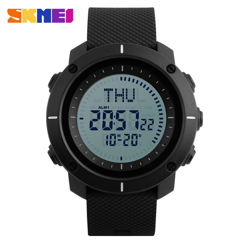 skmei pria olahraga jam tangan digital menonton kompas elektronik countdown stopwatch waktu musim panas militer led