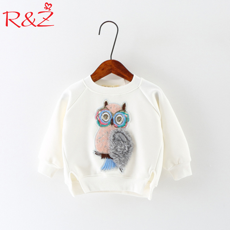 R&Z 2018 Autumn New Korean Girls T-shirt Animal Owl Long Sleeve O-neck Cotton Cartoon Shirt Top Childrens' Kids Clothes k1 breast pocket v neck long sleeve t shirt
