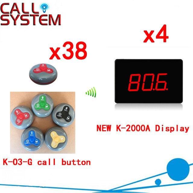 Беспроводной Официант Система Вызова Прочный Пейджер 433.92 МГЦ Передатчики Для Ресторана (4 дисплей + 38 кнопка вызова)