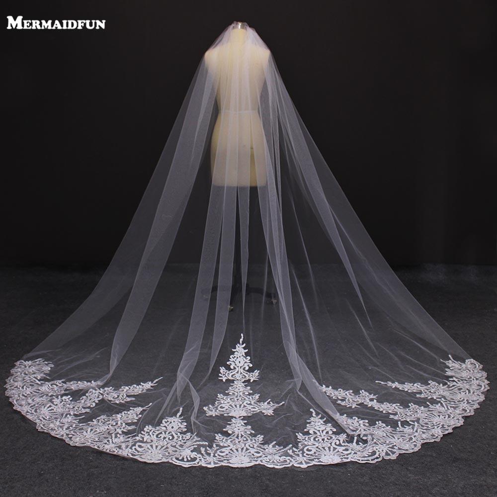 d04b568547 MERMAIDFUN Real Photos One Layer 3 Meters Lace Appliques Wedding Veil With Comb  Velos De Novia