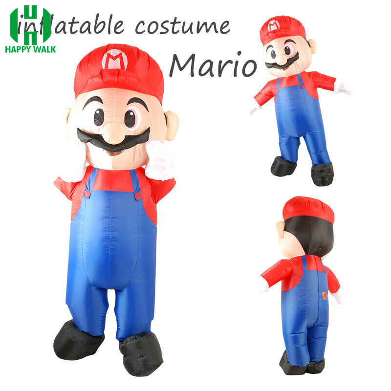 Inflatable Costume Super Mario Bros Luigi Brothers Plumber Costumes Adult Man Women Funny Mario Cosplay Carnival Fancy Dress Up