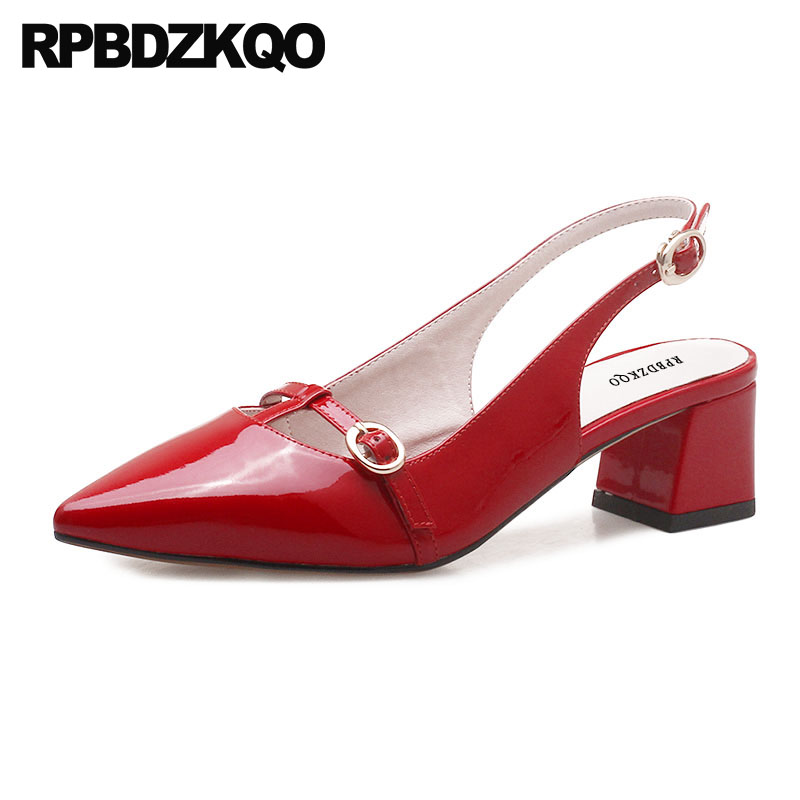 Women Pointed Toe High Heels Chunky Pumps Bridal Ladies Shoes For Wedding Strap Size 4 34 Slingback Patent Leather Red Medium fashion pumps elegant metal size 4 34 women medium square toe female chunky wine red patent leather shoes new 33 modern china