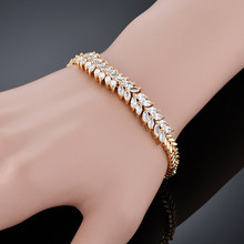 Trendy Luxury Cubic Zirconia Charm Bracelet For Women/Men Wholesale Braslet 18cm Gold Color Tennis Chain Jewelry Pulseira(China)