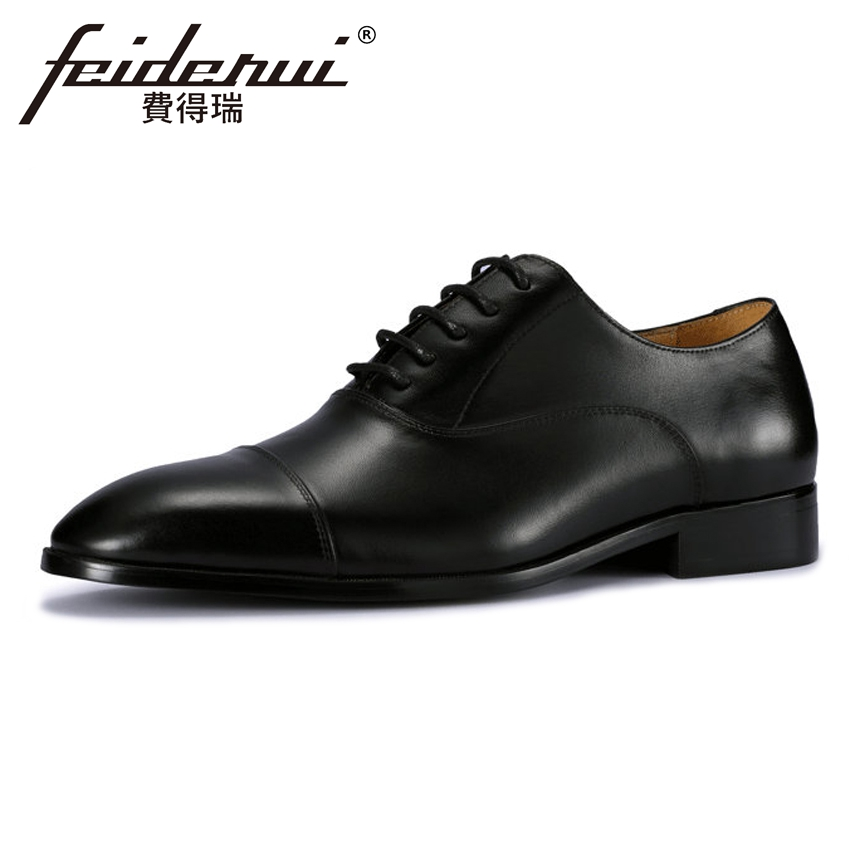 Plus Size New Formal Dress Genuine Leather Men's Oxfords British Designer Round Toe Wedding Party Handmade Brogue Shoes MLT77 skp151custom made goodyear 100% genuine leather handmade brogue shoes men s handcraft dress formal shoes large plus size