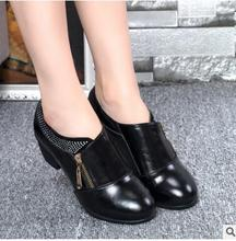 Free shipping  new women's business casual leather high-heeled shoes, the first layer of leather women dress shoes wedding party