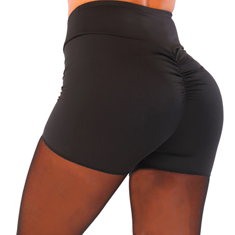 2019 Summer Women's Spandex High Waist Stretch Solid Color Elastic Waist Pleat Three Shorts Running Tight Shorts M/L/XL/2XL/3XL