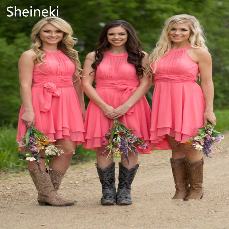 Country Style Short Bridesmaid Dresses
