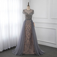 Couture Gray Cap Sleeve Evening Dress Sparkly Rhinestone Formal Gown Competition Dresses Robe De Soiree YQLNNE