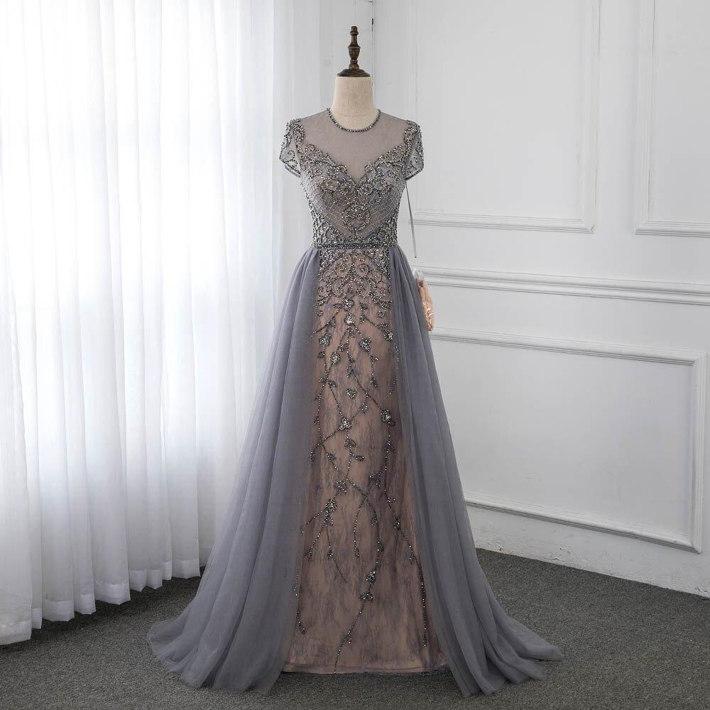 Couture gris casquette manches Robe De soirée brillant strass Robe formelle robes De compétition Robe De soirée YQLNNE