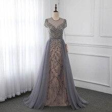 Couture vestido De noche gris con mangas y brillantes Diamante De imitación, traje Formal, vestidos De competición, YQLNNE