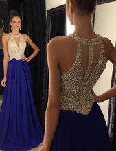 Robe De Soiree Royal Blue Abendkleider Eine Linie Halfter Ärmellose Luxus Perlen Chiffon Frauen Formale Kleider Abendkleid