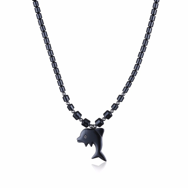 Natural stone dolphin pendant necklace punk rock pendant black natural stone dolphin pendant necklace punk rock pendant black necklace faux bone carving dolphin pendant necklace aloadofball Gallery