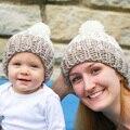 2 Mãe e Me Pçs/set Correspondência Da Mamãe e Do Bebê de Malha Chapéus Skullies Gorros Chapéus de Inverno Quente Crianças Crianças Headwear Chapéu tampas