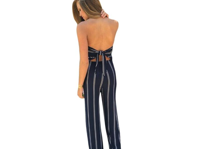 2019 Strapless Sleeveless High Waist Plain Jumpsuits Women Elegant Striped Blue Wide Leg Flounce Tube Jumpsuit in Jumpsuits from Women 39 s Clothing