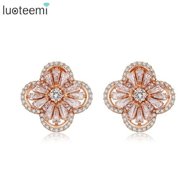 LUOTEE Quality Cubic Zircon Setting Fashion Dubai Rose Gold Plated Flower Stud font b Earrings b