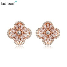 LUOTEE Quality Cubic Zircon Setting Fashion Dubai Rose Gold Plated Flower Stud Earrings For Bridal Wedding Jewelry
