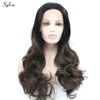 Sylvia Long 6 Ombre Hear Resistant Fiber Body Wave Hairstyle Two Tone 1B Root With Brown