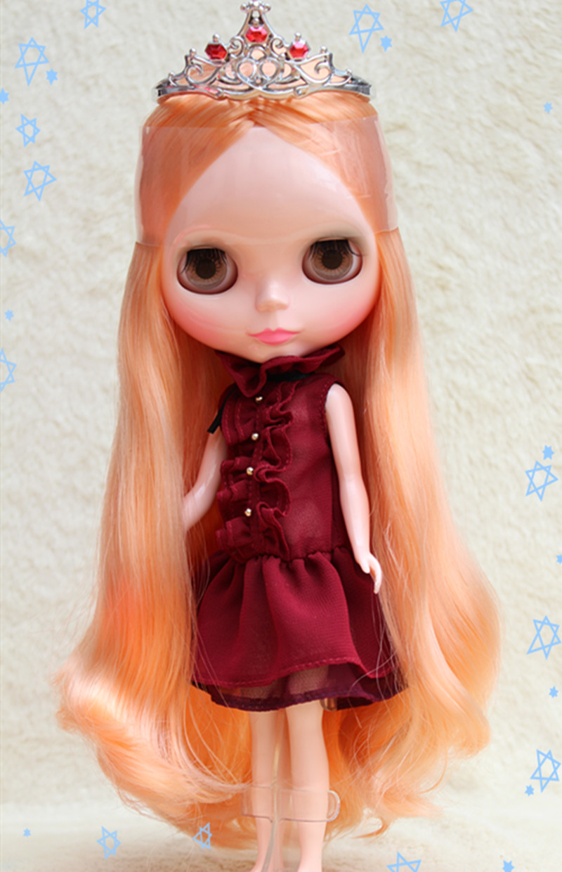 Blygirl fluorescente Orange boucles poupées Blyth poupée 801BL2741 nue poupées ordinaire corps 7 articulations crème pour cheveux