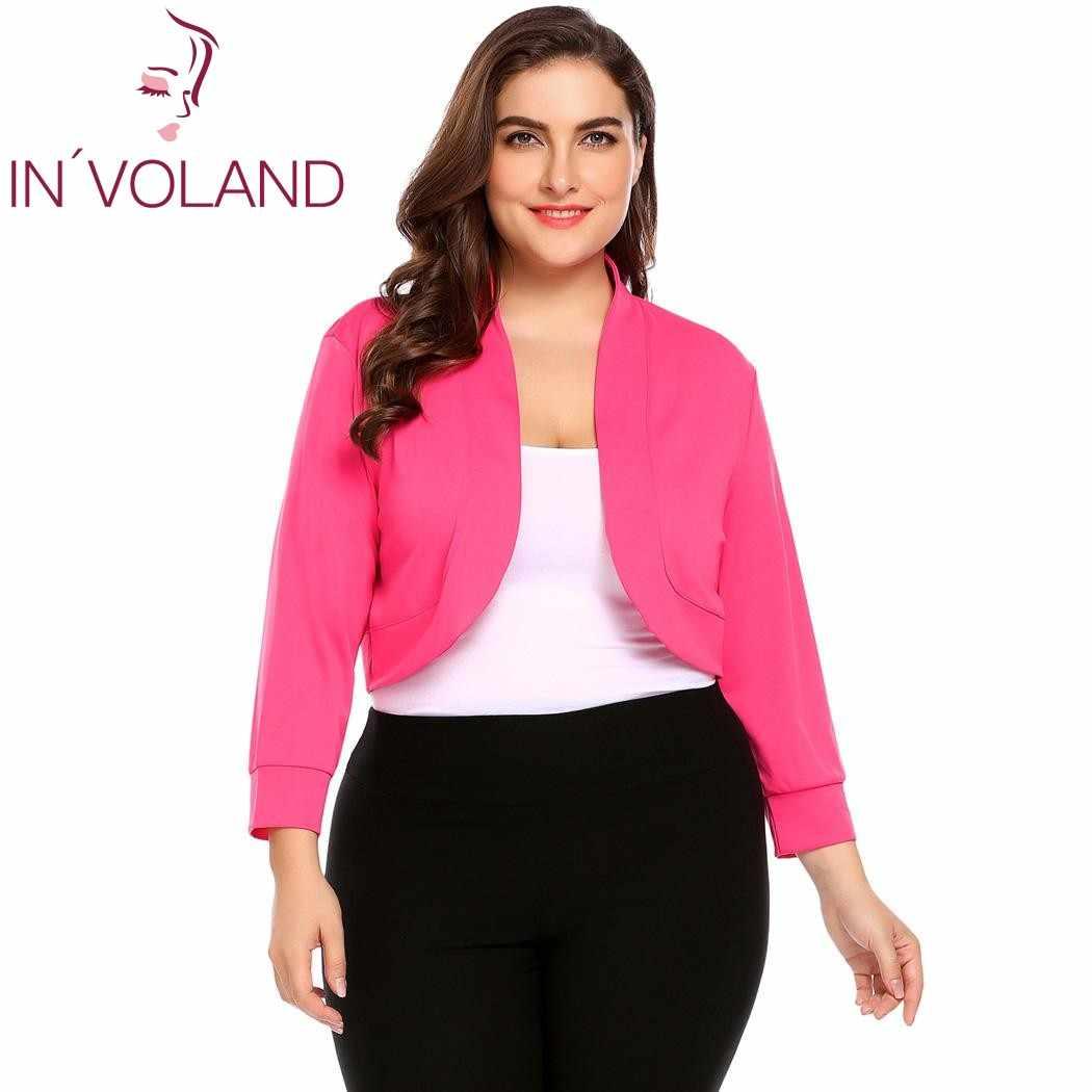 07b1aa92222ef ... IN'VOLAND для женщин короткие Болеро Топ Большой размеры XL-5XL осень  3/ ...