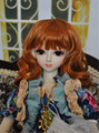 Lati red doll wigs 1/6 long curly  synthetic mohair doll hair 6-7inch YOSD  Vinyl doll and porcelain BJD wig