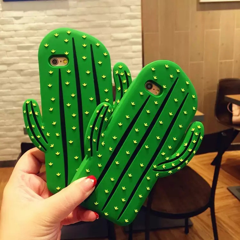 <font><b>3D</b></font> Cute Cartoon Cactus Soft Silicone Cell Phone Back <font><b>Case</b></font> Protect Cover For iPhone 5 5s SE 5C 6 6s Plus <font><b>7</b></font> 8Plus X XS XR XS Max image