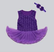 Pinkbabi Baby Rompers 2PCs per Set Purple Baby Girl Tutu Dress Romper Headband for 0-12Months Free Shipping