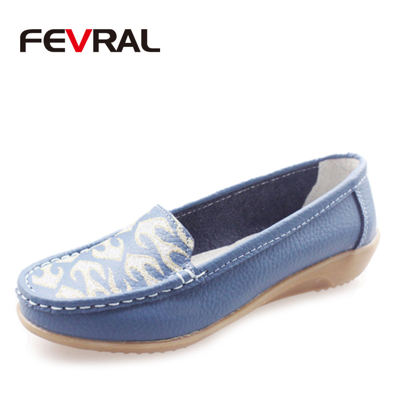FEVRAL Fashion Genuine Leather Shoes Woman 2018 New Solid Slip On Boat Shoes For Woman Flats Shoes Big Size 35-41 Loafers Woman girls fashion punk shoes woman spring flats footwear lace up oxford women gold silver loafers boat shoes big size 35 43 s 18