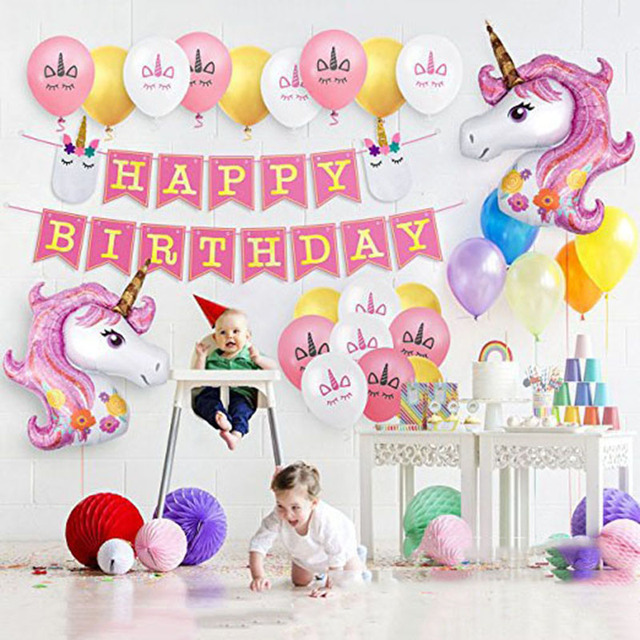 Happy Birthday Garland Unicorn Theme Pink Bunting Banner Baby Shower Party Decorations Boy Girl Supplies