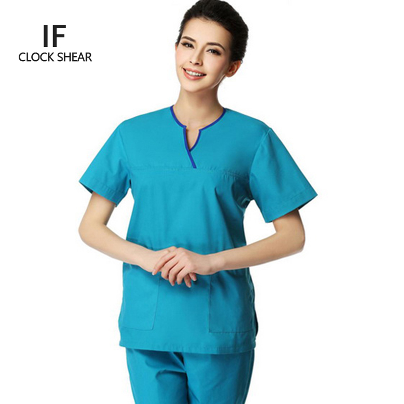 IF new summer short-sleeved surgical gowns women dental beauty oral pet doctor male split suit