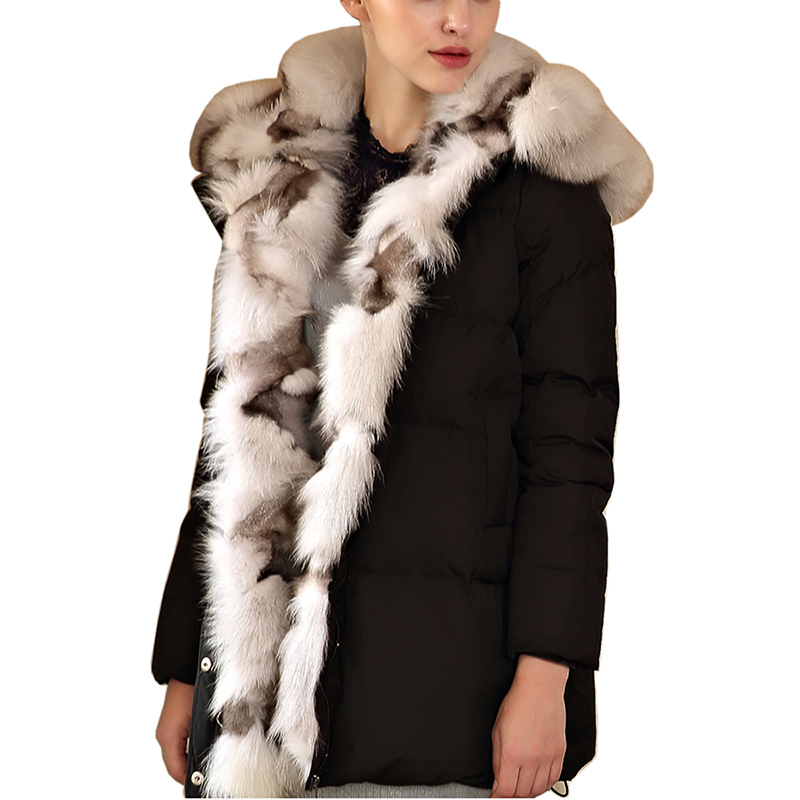 2018 Winter Women 90% White Duck   Down     Coats   Hooded Parkas Thick Large Natural Fur Collar Duck   Down   Jacket Female Snow Outerwear