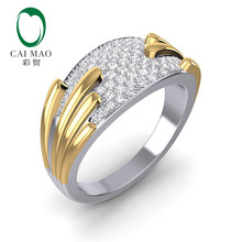 CaiMao 14K Two-Tone Gold 0.41ct Moissanite แหวน(China)