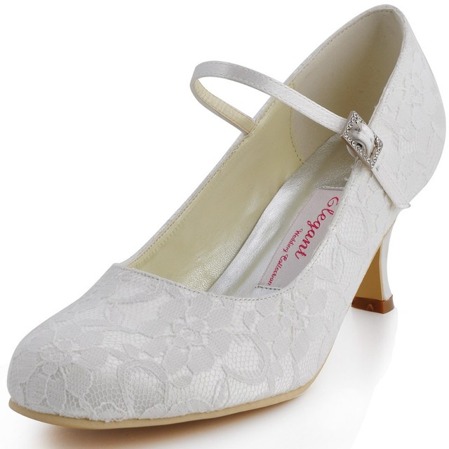 1085d1d3f412 Clearance Sale EP1085-EU White Women Mary-jane Bridal Party Round Toe Med  Heels Prom Pumps Satin Lace Buckle Wedding Shoes US10