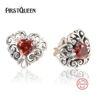 FirstQueen 100 925 Sterling Silver Captured Hearts Nature Stone Female Stud Earrings Fashion Jewelry