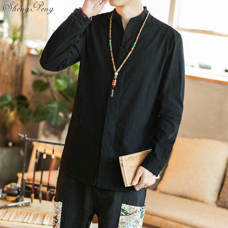 Traditional Chinese wushu shirt clothing for men top oriental mandarin collar shirt linen male kimono outfit clothes Q582 Одежда