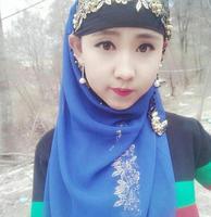 2017 bronzier laciness beaded muslim bandanas scarf hijab