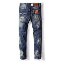 Синие джинсы Для мужчин прямые джинсы Uomo Мотобрюки плюс Размеры 29-40 Высокое качество Хлопковые фирменные носки оранжевый Пуговицы Для Мужч...