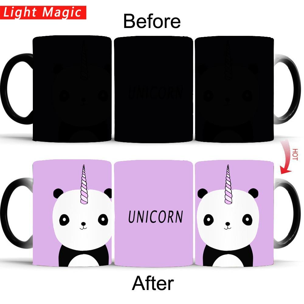 cute unicorn panda mug Heat Sensitive Ceramic Coffee Tea Mug color changing mug cup best gift for friends