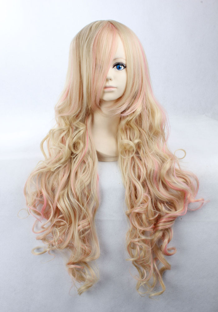 Quality Thick 90cm Long Curly Blonde Mix Pink Two Tone Wig