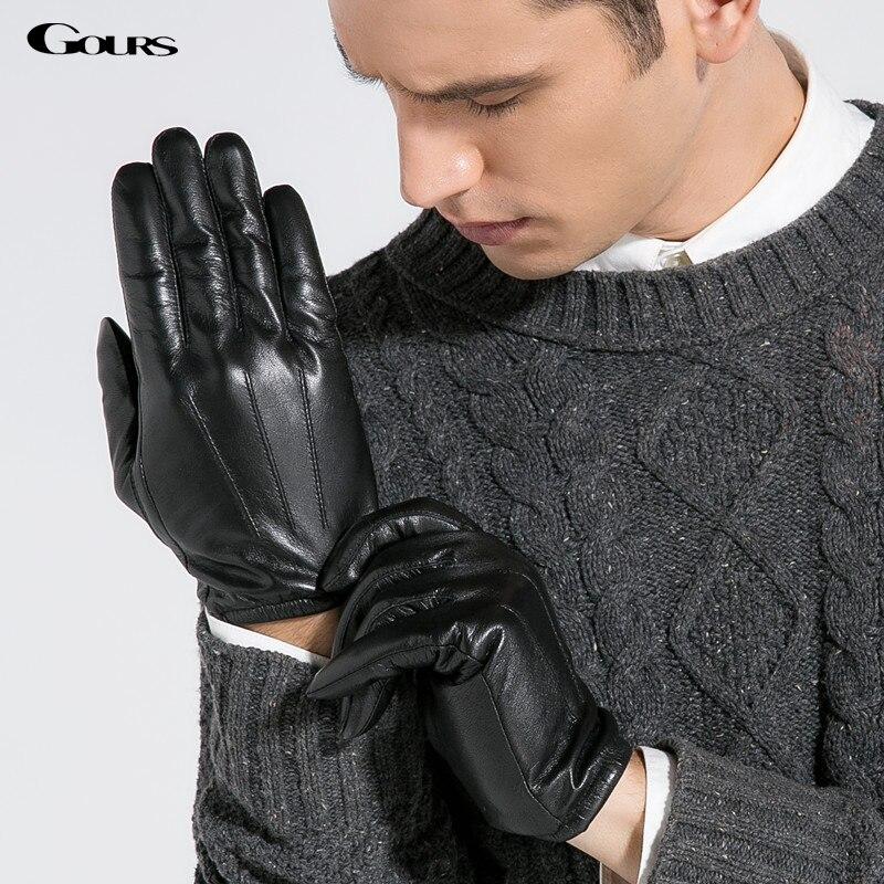 Gours Men's Genuine Goatskin Leather Gloves 2018 New Brand Winter Gloves Men Black Driving Glove Fashion Warm Mittens GSM011