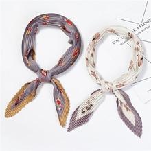 Women Chiffon Crinkle Scarfs Square Silk Pleated Scarves for Ladies Hijab Bandana Foulard Animal Print Wrap