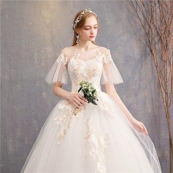 2019 New Flare Sleeve Princess Colorful Wedding Dresses Mrs Win O-neck Classic Champagne Embroidery Vestido De Novias F