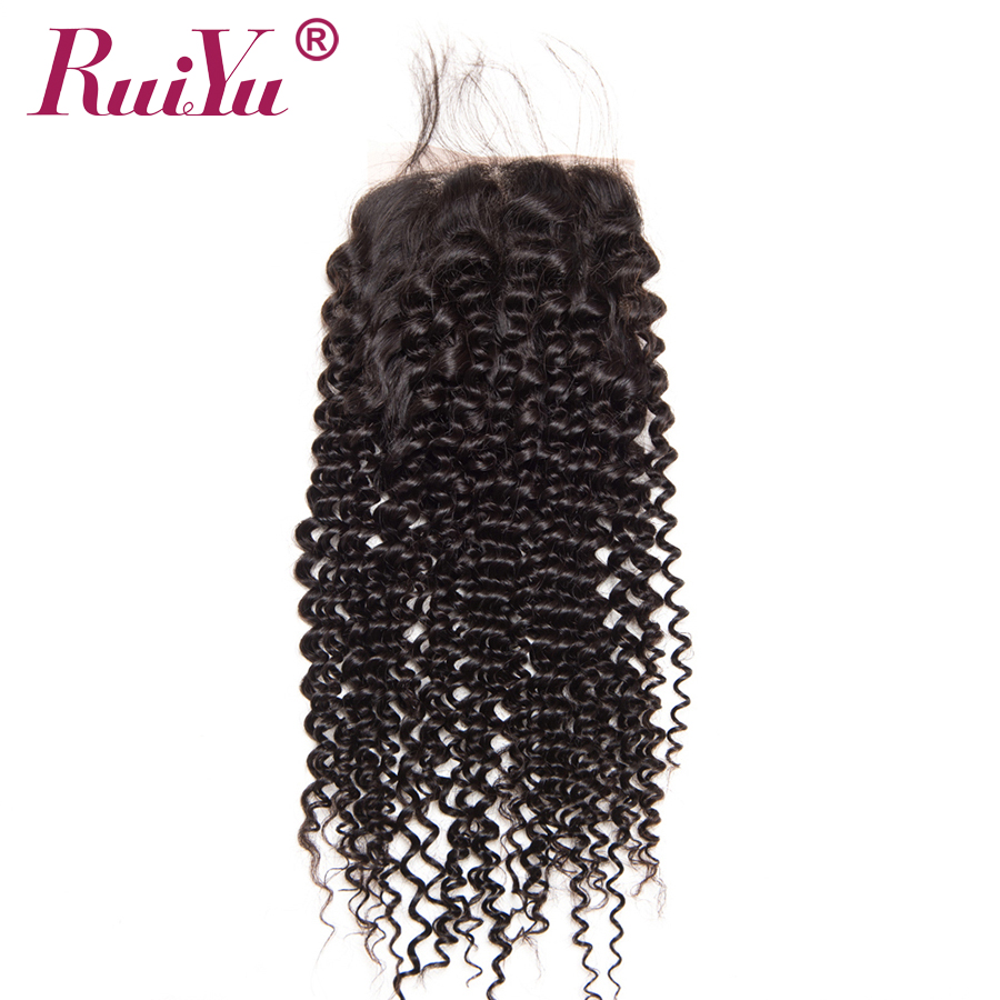 RUIYU Brazil Afro Kinky Curly Lace Closure 100% Penutupan Rambut - Rambut manusia (untuk hitam) - Foto 2