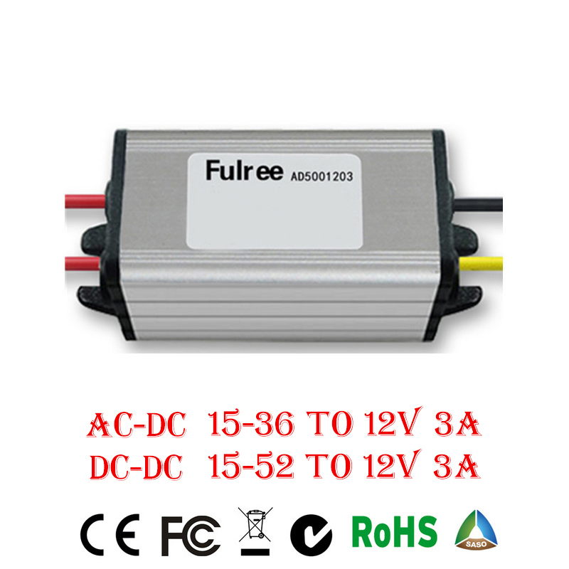 inverter converter AC/DC Step-down 15-52V to 12V 3A controller inverter Car Module Low Heat Auto Protection ac dc step down converter module for vehicle char module 24v to 12v 8a waterproof control car module low heat auto protection