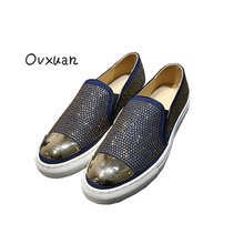 Ovxuan Luxury Brand Shiny Rhinestone Men Loafers Fashion Party and Banquet Men Dress Shoes Metal Sheet Creepers Mocasin Hombre